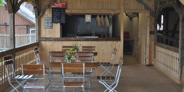 Trinkhalle der Historischen Holzkegelbahn in Salem-Weildorf