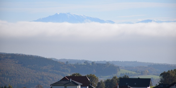 Alpenpanoramablick von St.Oswald aus: vom Schneeberg bis Dachstein