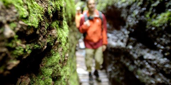 Wanderer unterwegs in der Drachenschlucht