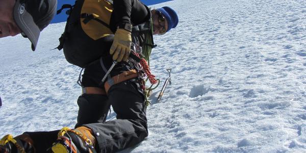Aufstieg Westhang Pollux 45°