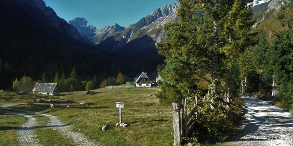 Along the trail from the cottage at the source of the Soča RIver
