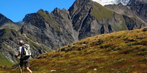 Greina-Ebene und schneebedeckter Piz Terri.