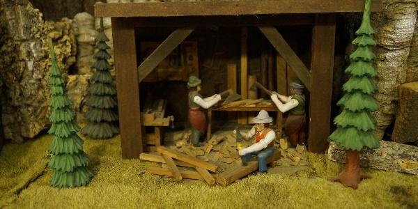 Vánoční hora v Řezbářském muzeu v Thumu - městské části Jahnsbach
