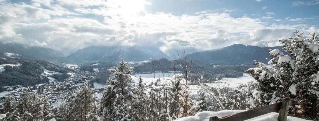 Aussicht von der winterlichen Marxenhöhe zum Watzmann