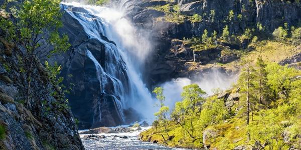 Waterfall in the Husedalen Husedalen valleyalley