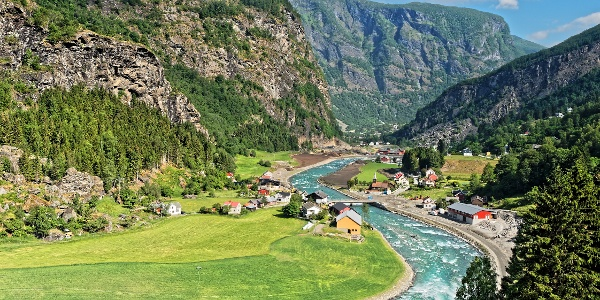 Valley landscape near Flam