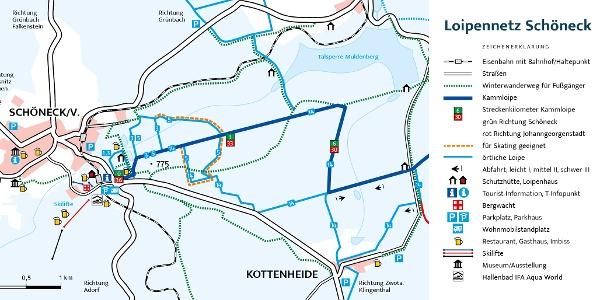 Loipenplan Schöneck mit Kammloipe