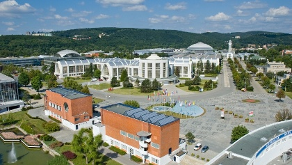 Letecký pohled na brněnské Výstaviště