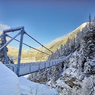 Hängebrücke im Winter