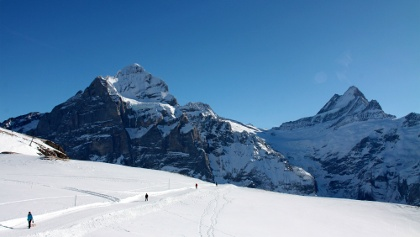 Winterwanderweg zwischen First und Bachseen.