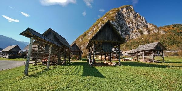 Hayracks bellow the village of Studor
