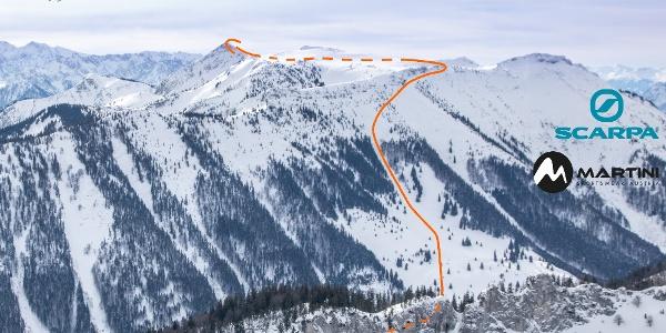 Überschreitung Geigelstein mit Ski Übersichtsbild - Topo Aufstieg
