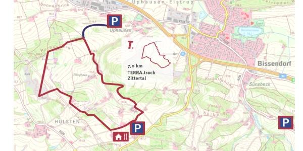"""TERRA.track Zittertal -Auszug Schautafel Naturpark-Wanderparkplatz """"Zum Rochusberg"""""""
