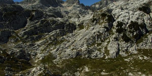Vrh Laške Planje (levo) s Kaninskimi podi