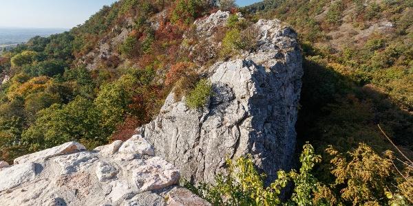 A sziklamászóhely a csókakői várból nézve