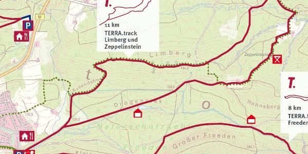 """TERRA.Track Limberg und Zeppelinstein - Auszug der Schautafel am Wanderparkplatz """"Am Freeden"""""""