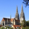 Blick zum Dom  St. Peter in Regensburg