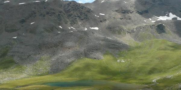 Der Langsee, der auf etwa 2.350 Metern sanft eingebettet in Bergwiesen liegt, gehört zur Weißbrunner Seenplatte und ist Teil des Quellgebietes der Falschauer.