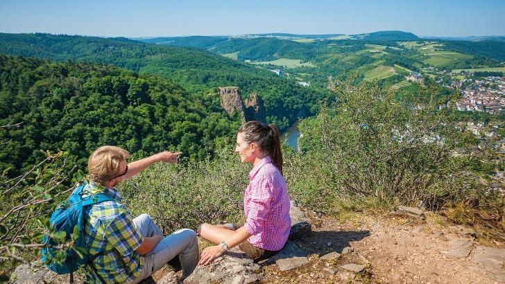 Blick vom Rheingrafenstein Richtung Rotenfels und Ebernburg
