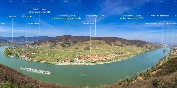 Panorama von der Ferdinand-Warte des ÖTK, Hohe Wand, Wachau