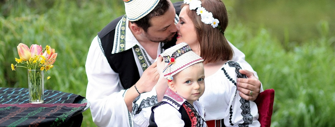 Romanian Family in Traditional Costume