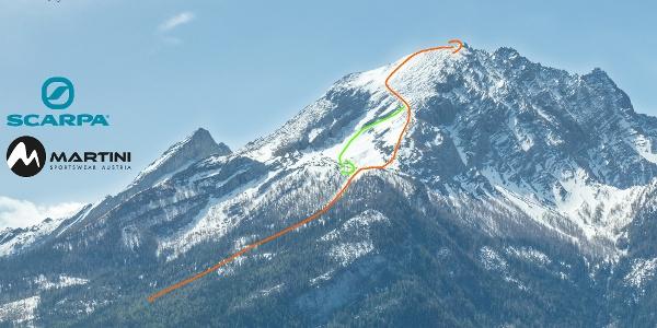 Übersichtsbild Hocheck - Topo Skitour auf den Watzmann