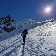 Bei 3200 m Anstieg in das obere Gletscherbecken