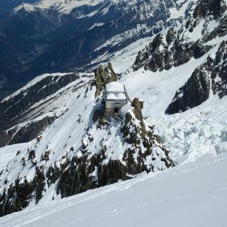 Die Grands Mulets Hütte von oben
