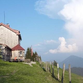 Julius-Seitner-Hütte mit Panorama