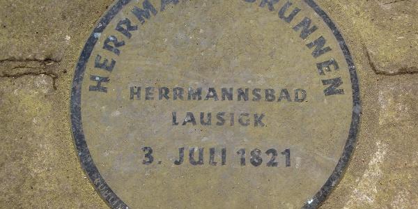 Erinnerung an den Standort des Hermannbrunnens, Bad Lausick