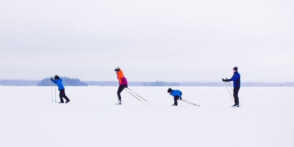 Cross-County Skiing on a Lake