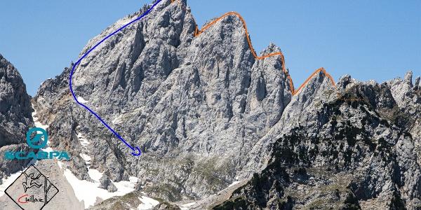 Kopftörlgrat auf die Ellmauer Halt im Wilden Kaiser - Übersichtsbild der Klettertour