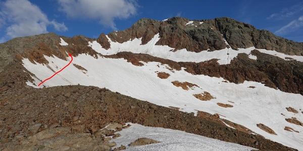 Anstieg zur südlichen Stubenscharte - Gipfel = Schneespitze