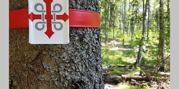 St. Olav Waterway is marked with the logo and a red band in the forest