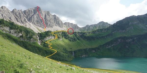 Blick vom Traualpsee auf den Klettersteig Lachenspitze Nordwand