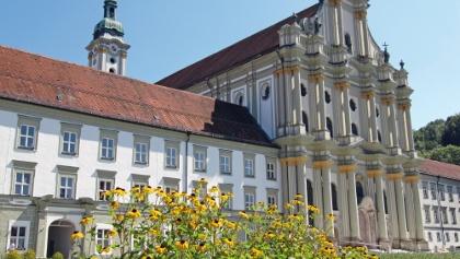 Kloster Fürstenfeld mit Sonnenblumen