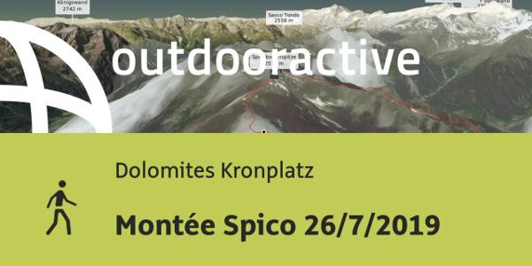 Randonnée en Dolomites Kronplatz: Montée Spico 26/7/2019