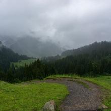 Blick kurz vor der Schwarzwasserhütte zurück ins Tal