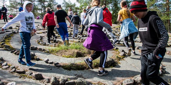 """""""Jungfrudans"""" stone mazes have been used as local pilgrimage rites in the past."""