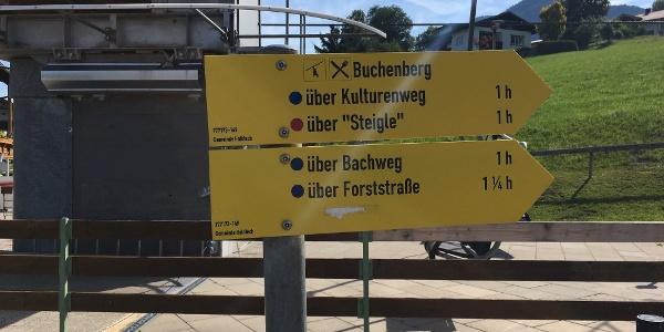 Beschilderung zum Kulturenweg auf den Buchenberg