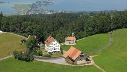 Ausblick vom St. Meinrad auf den oberen Zürichsee mit dem Seedamm.