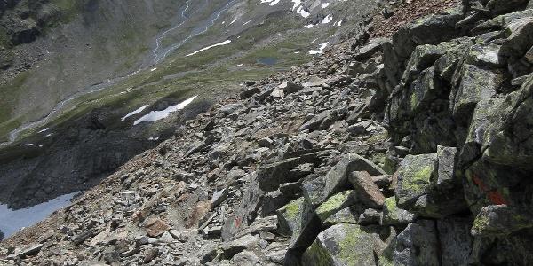 Wegspur im Abstieg vom Hohen Rad mit Blick ins Bieltal (Talende)