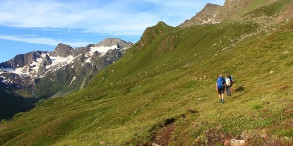 Anfangs zieht der Weg durch steile Almwiesen