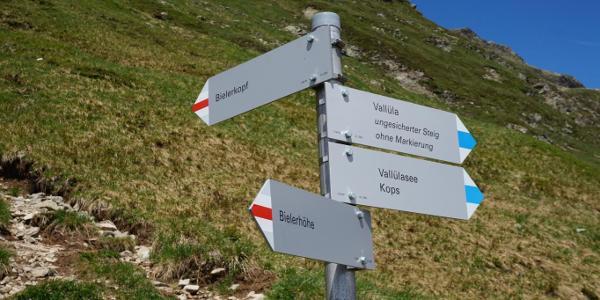 Roadsign towards Bieler Kopf