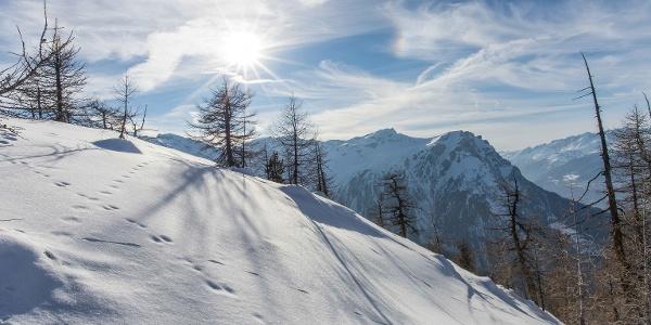 Vue sur les montagnes et la vallée