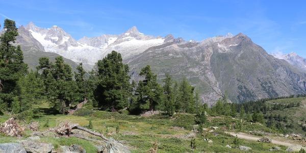 Alpages au point tournant de la randonnée