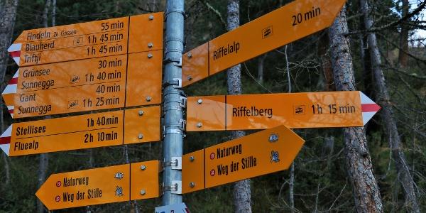 Wegweiser auf dem Rückweg der Wanderung. Dem Wegweiser Richtung Riffelberg folgen.