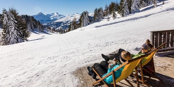 Aussicht Skihütte Feldis im Winter