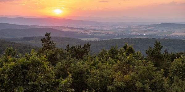 Kilátás Ausztria felé a Várhelytől - jobbra a Bécsi-erdő púpja