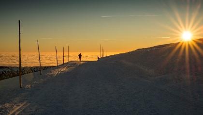 Sonnenuntergang Langlauf im Riesengebirge